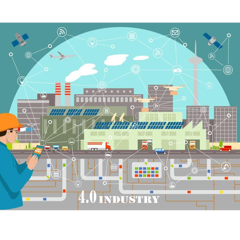 Indústria 4 da tecnologia 0 ilustrações espertas do vetor do telefone e da fábrica lisas ilustração do vetor