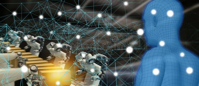 Indústria 4 da tendência de Iot 0 conceitos, coordenador industrial que usa a inteligência artificial ai aumentada, realidade vir imagem de stock