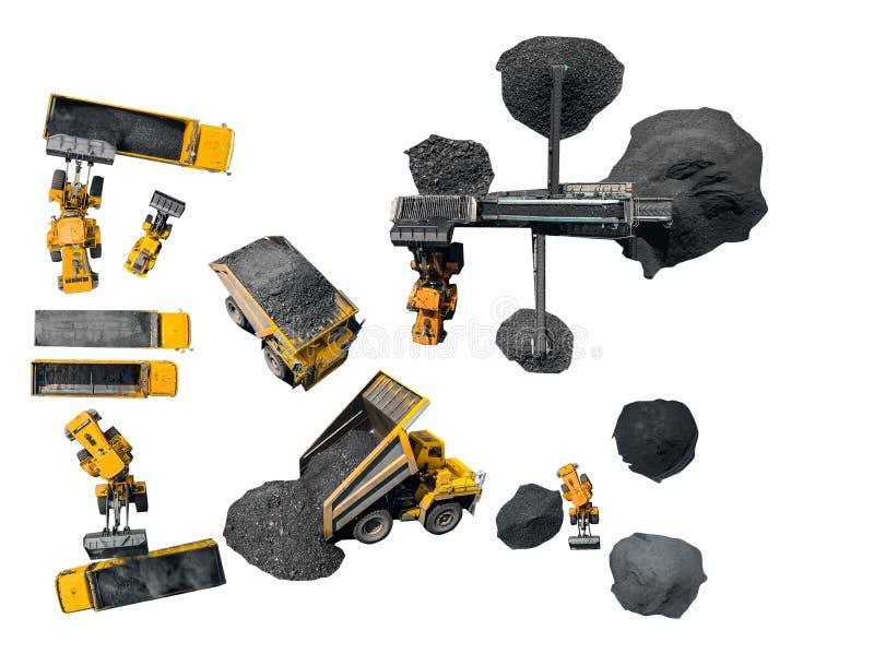 Indústria de carvão do conceito Moedor de mineração isolado do grupo, máquina escavadora, carro grande para o transporte fotos de stock