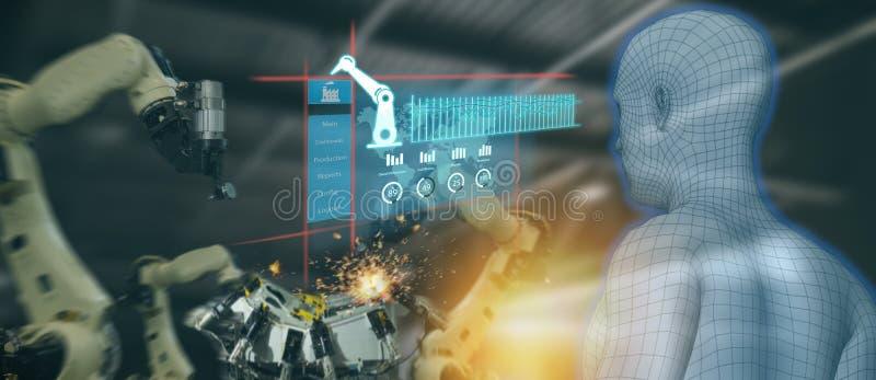 Indústria 4 de Iot 0 conceitos, coordenador industrial que usa a inteligência artificial ai aumentada, realidade virtual a monito imagens de stock royalty free