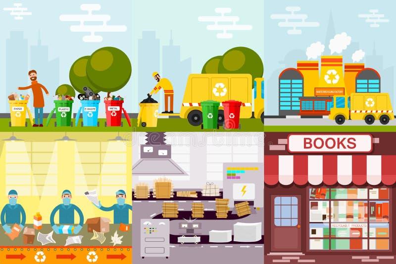 A indústria de processamento trazida caminhão da fábrica do processo do lixo da reciclagem de resíduos processou o vetor da produ ilustração do vetor