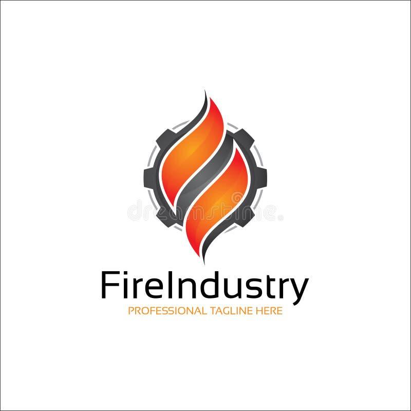 Indústria do fogo, conceito do logotipo do petróleo e gás ilustração royalty free