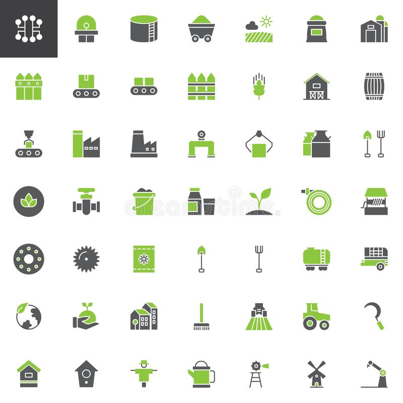 Indústria e cultivo dos ícones do vetor ajustados ilustração do vetor