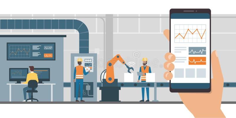 Indústria 4 0 e monitoração do app ilustração stock