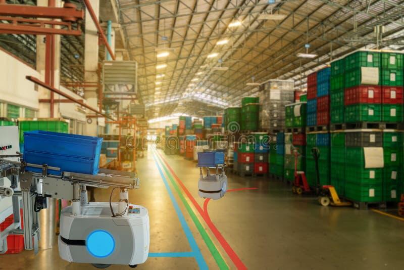 Indústria esperta 4 de Iot A palavra da cor vermelha situada sobre o texto da cor branca A classificação robótico industrial da a foto de stock