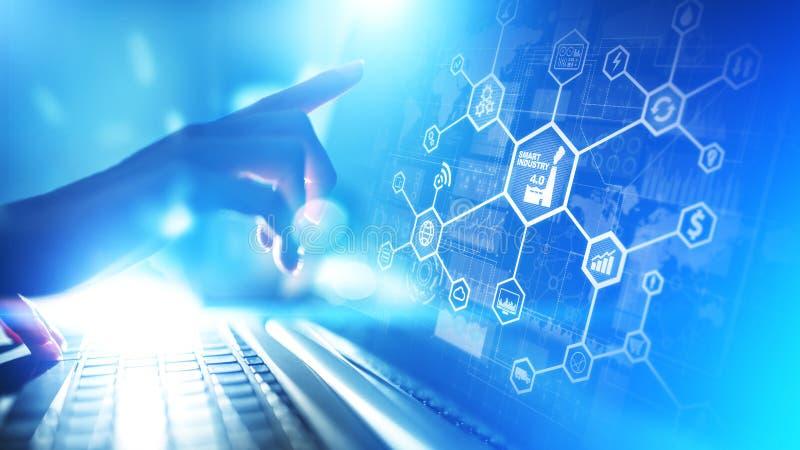 Indústria esperta 4 0, Internet da automatização de fabricação das coisas Conceito do negócio e da tecnologia na tela virtual ilustração do vetor