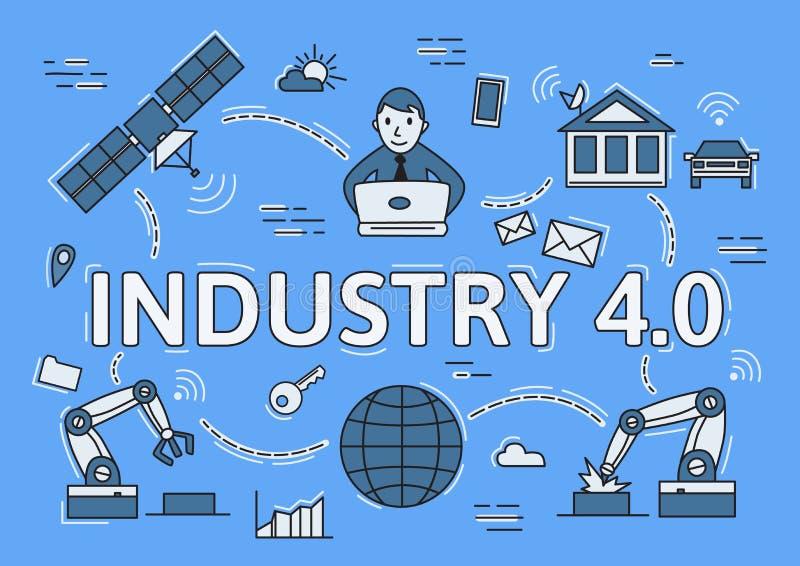 Indústria 4 0 linhas lisas conceito Ambiente de Digitas Ilustração lisa do vetor de Infographic no fundo azul horizontal ilustração royalty free