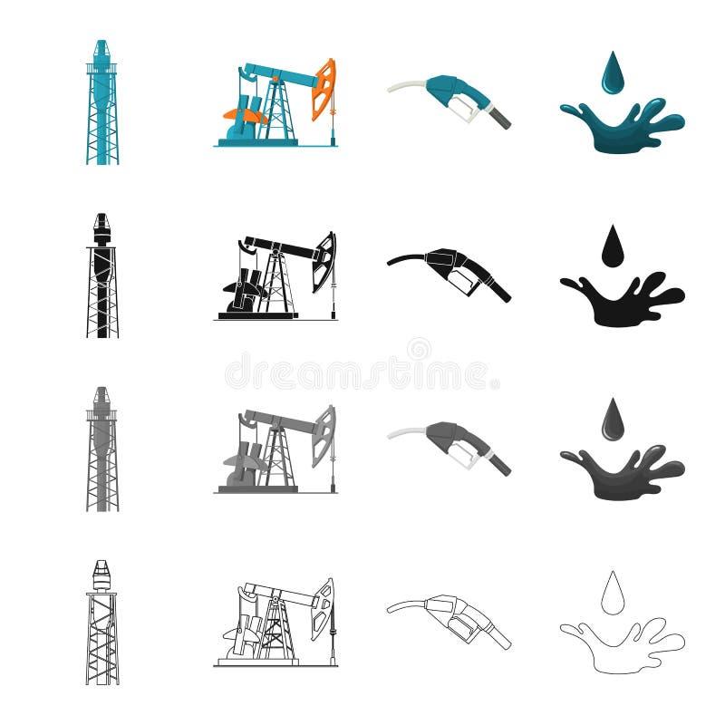 Indústria, maquinaria, ferramentas e o outro ícone da Web no estilo dos desenhos animados Fóssil, combustível, ícones da substânc ilustração royalty free