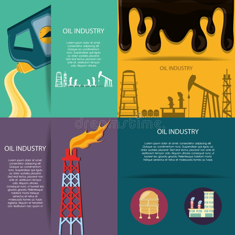 Indústria petroleira com planta de refinaria ilustração stock