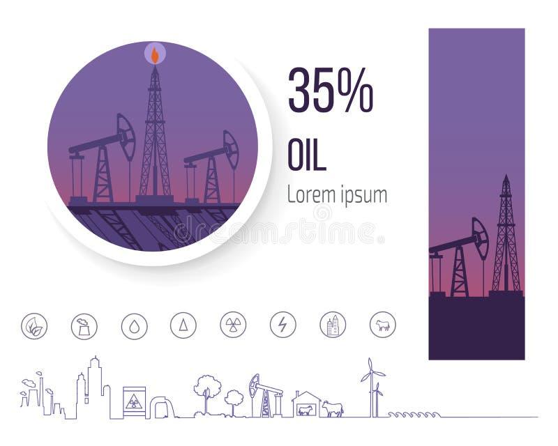 Indústria petroleira 35 por cento, cartaz com vetor dos ícones ilustração do vetor