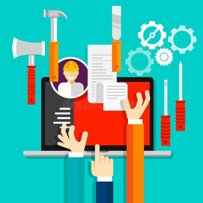 Indústria técnica do ícone das ferramentas dos serviços de manutenção ilustração do vetor