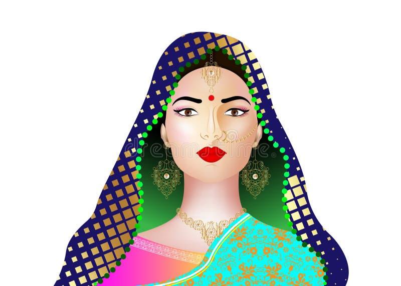 Portrait of beautiful indian girl. Young hindu woman model with kundan jewelry set. Traditional India costume lehenga choli saree. Portrait of beautiful indian royalty free illustration