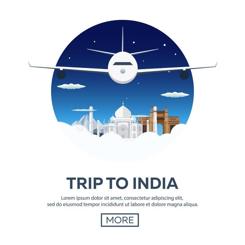 ind ja target972_0_ Turystyka Podróżna ilustracja Nowożytny płaski projekt Podróżuje samolotem, wakacje, przygoda, wycieczka ilustracji