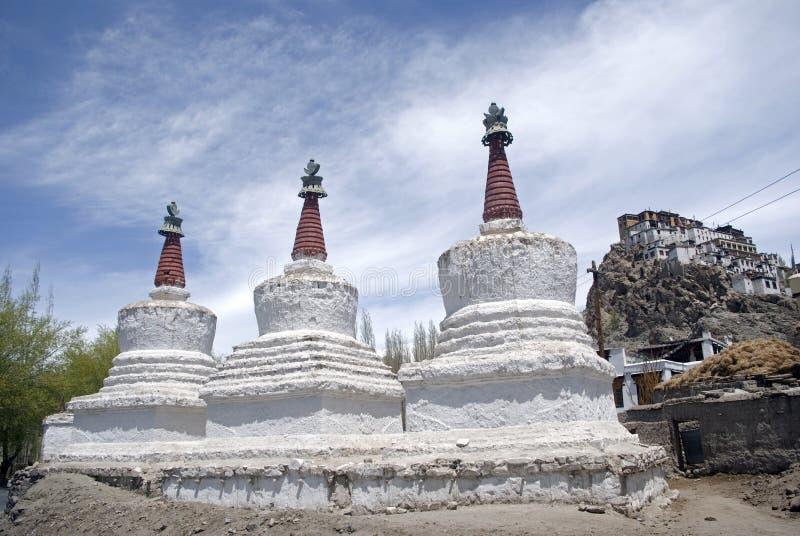 ind ladakh stupas tiksey obraz royalty free