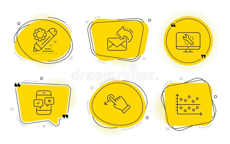 Indagine del telefono, posta della parte ed insieme delle icone di riparazione del monitor Il progetto pubblica, goccia di resist illustrazione di stock
