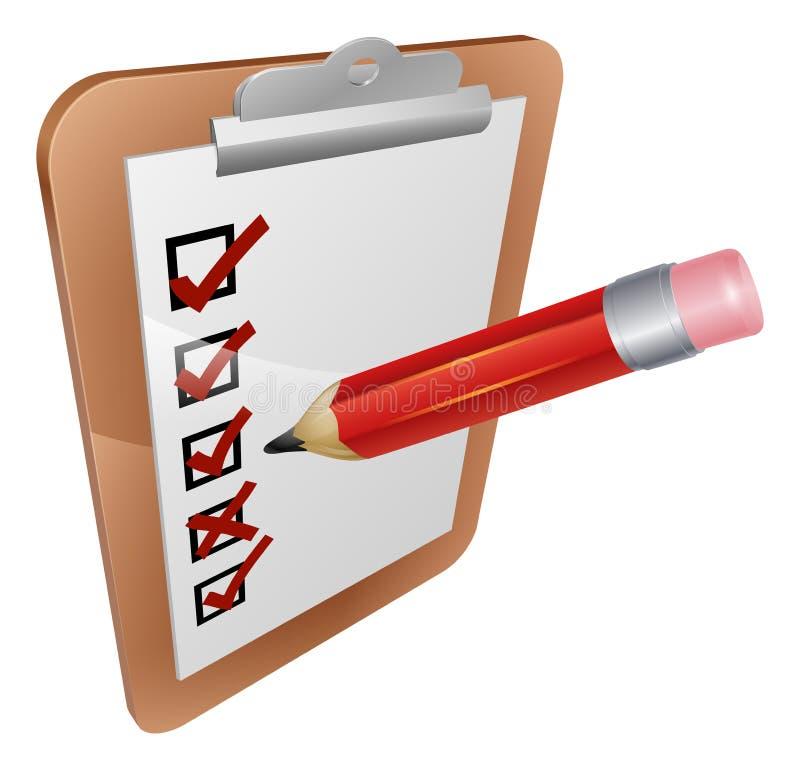 Indagine della lavagna per appunti ed icona della matita illustrazione di stock