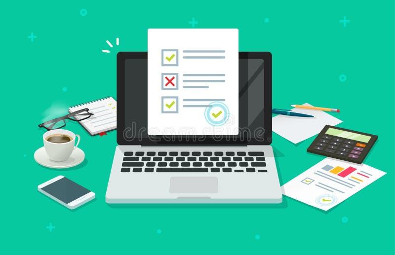 Indagine online della forma sull'illustrazione di vettore del computer portatile, lavorante al documento dello strato della carta royalty illustrazione gratis