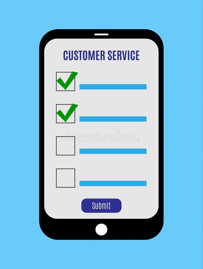 Indagine online, forma della lista di controllo sullo schermo della compressa Concetto di risposte di servizio di assistenza al c illustrazione di stock