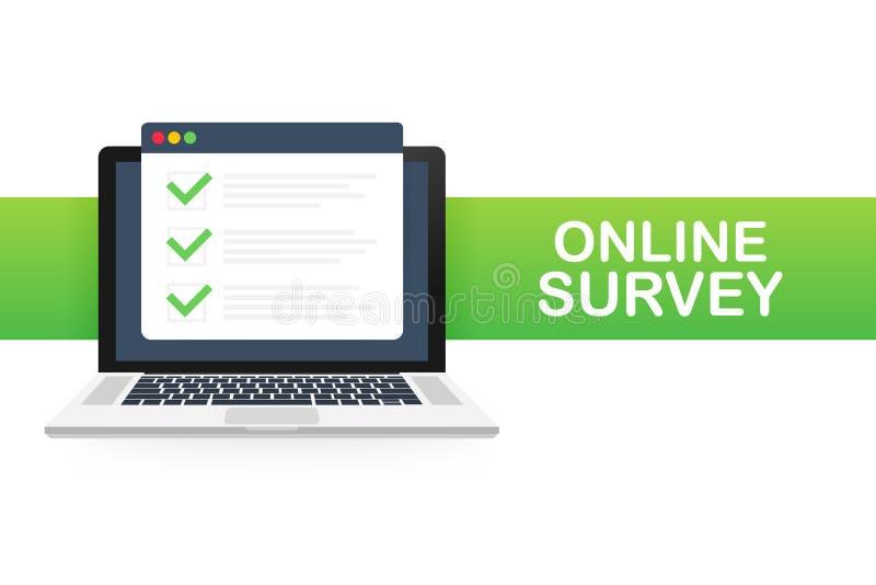Indagine online, lista di controllo, icona del questionario Computer portatile, schermo di computer Concetto di affari di rispost illustrazione di stock