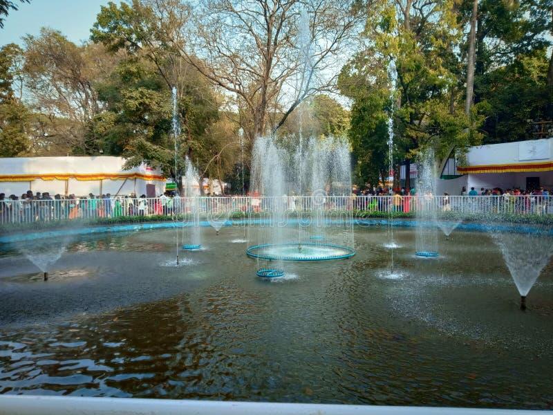 Indain bevattnar springbrunnen i trädgården eller parkerar fotografering för bildbyråer