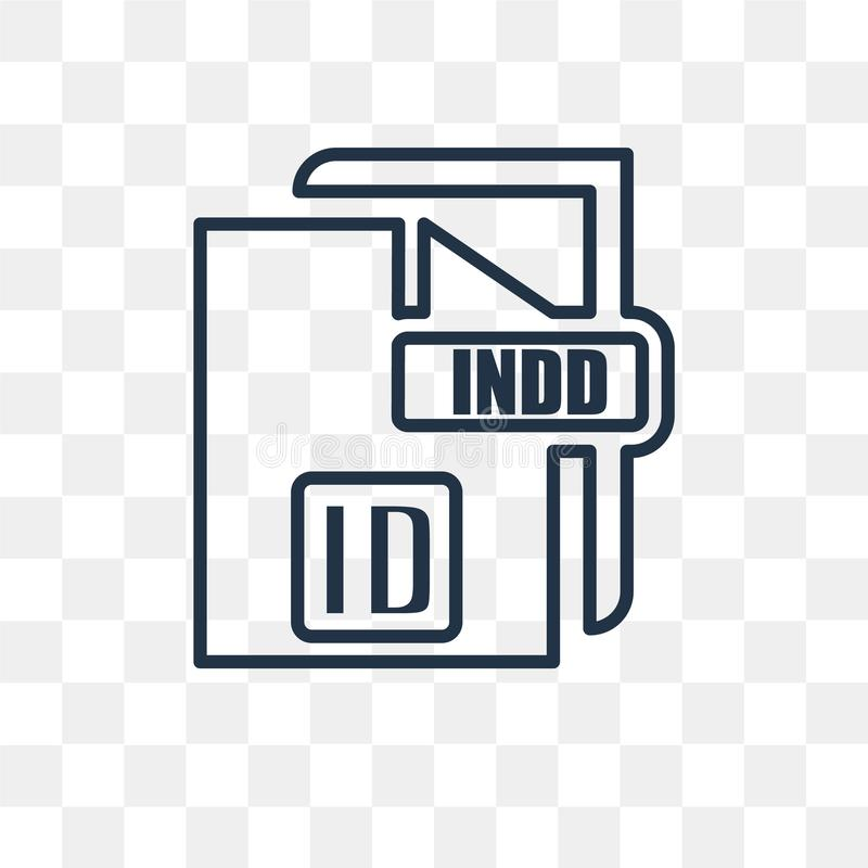 Indd vector icon isolated on transparent background, linear Indd transparency concept can be used web and mobile. Indd vector outline icon isolated on stock illustration