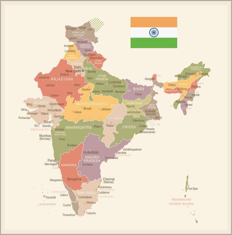 Inde - carte et drapeau de vintage - illustration illustration stock