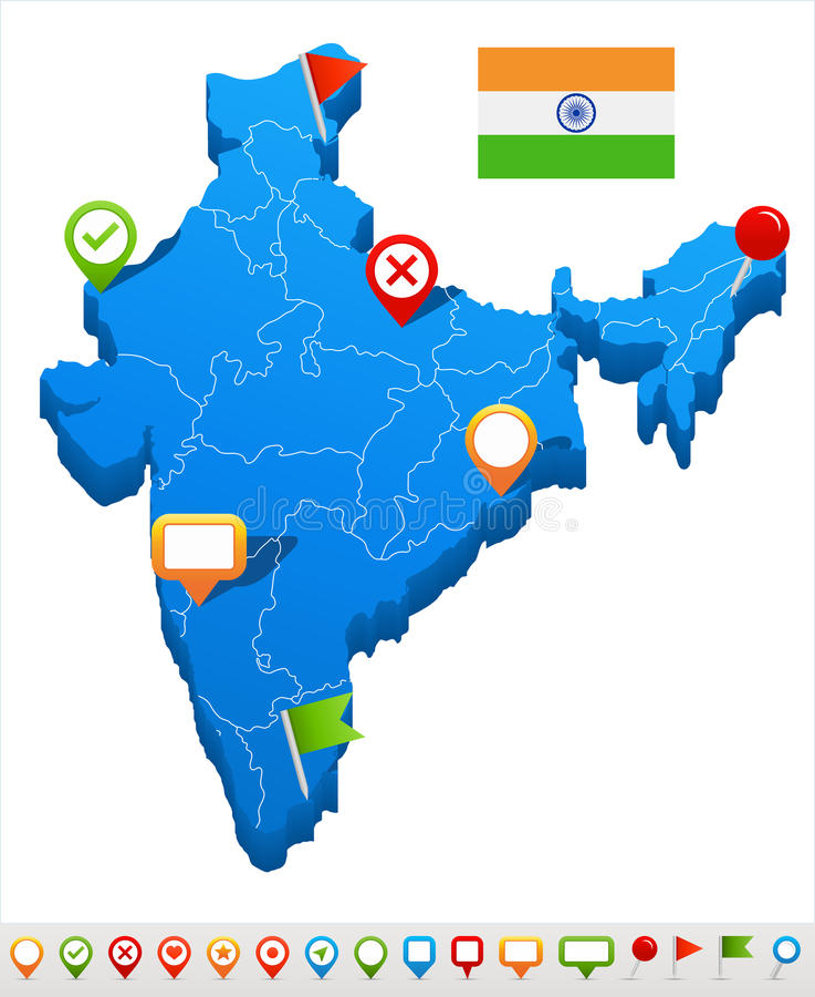 Inde - carte et drapeau - illustration illustration stock