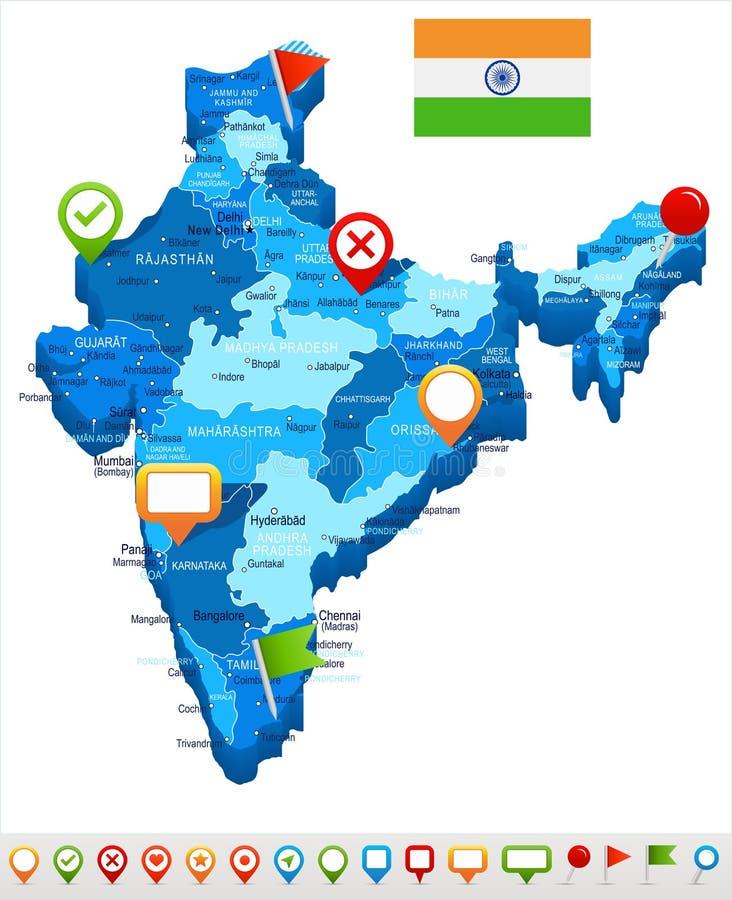 Inde - carte et drapeau - illustration illustration de vecteur