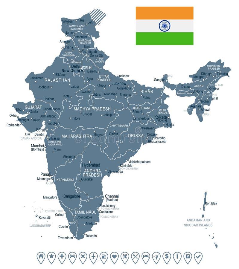 Inde - carte et drapeau - illustration illustration libre de droits