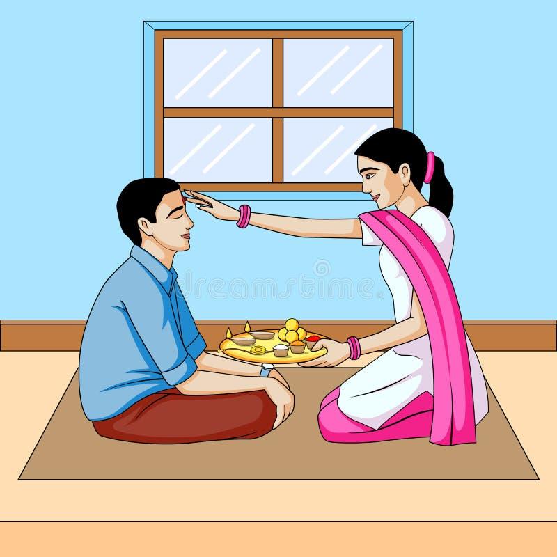Inde de festival de dooj, de frère et de soeur de Bhai illustration stock