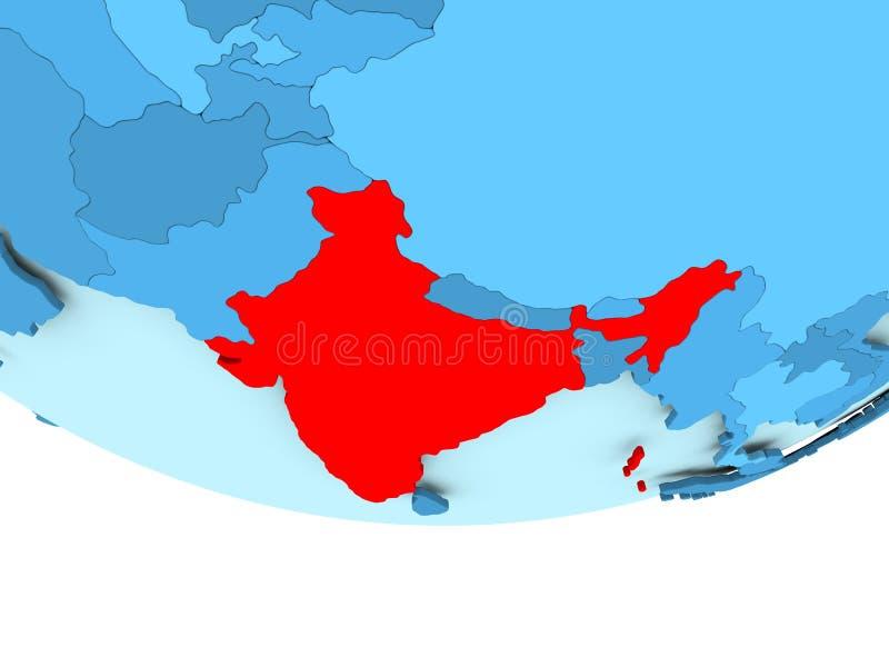 Inde en rouge sur la carte bleue illustration de vecteur