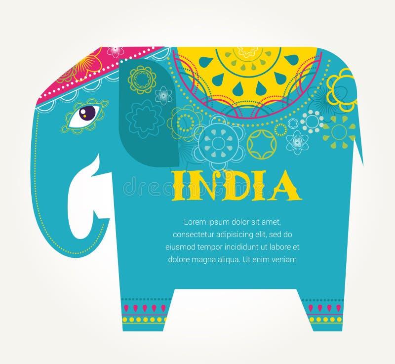 Inde - fond avec l'éléphant modelé illustration libre de droits