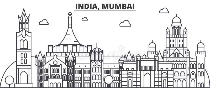 Inde, ligne illustration d'architecture de Mumbai d'horizon Paysage urbain linéaire de vecteur avec les points de repère célèbres illustration de vecteur