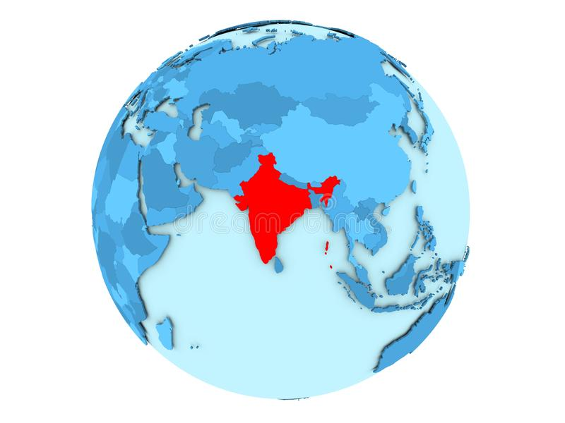 Inde sur le globe bleu d'isolement illustration stock