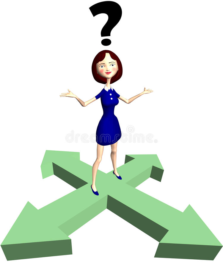 Indecision Cartoon Woman Question Arrows Royalty Free Stock Photography