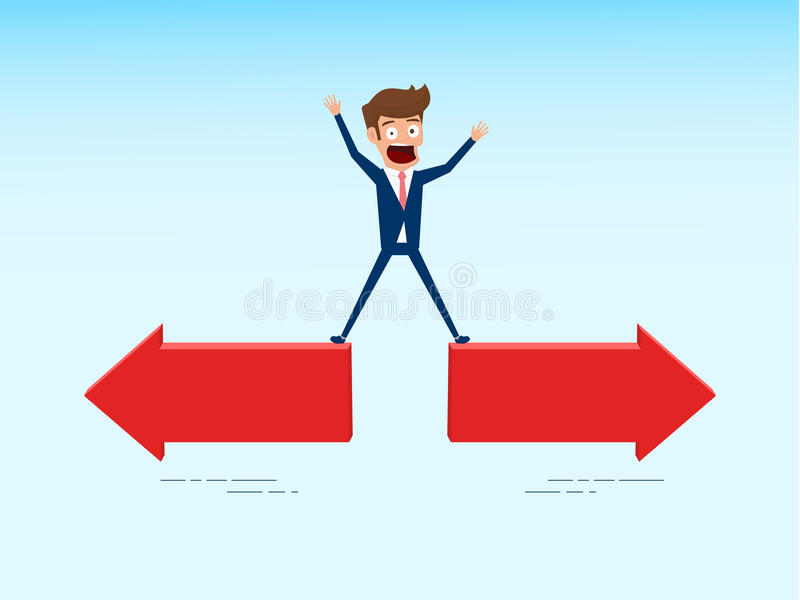Indecisive businessman chooses right direction way. Concept of confused chooses the right path. royalty free illustration
