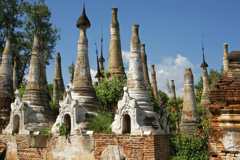 Indein, Inle湖,缅甸 免版税库存图片