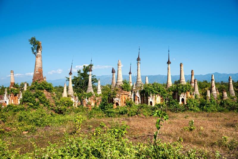 Indein, Inle Meer, Myanmar. stock afbeeldingen