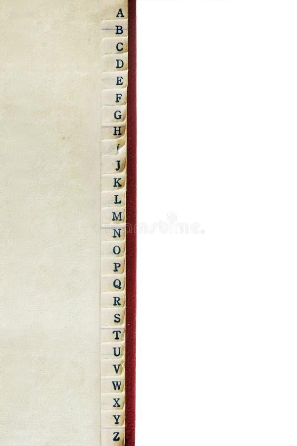 Indeks A do Z Książki adresowej Vintage Obramowanie nad białym fotografia stock