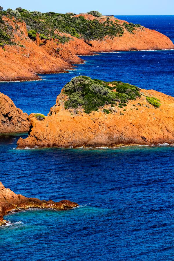 Indented esterel coast near Thèoule sur mer royalty free stock photography