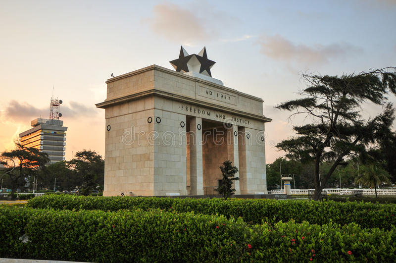 Independence Arch. The Independence Square of Accra, Ghana, inscribed with the words Freedom and Justice, AD 1957, commemorates the independence of Ghana, a stock image
