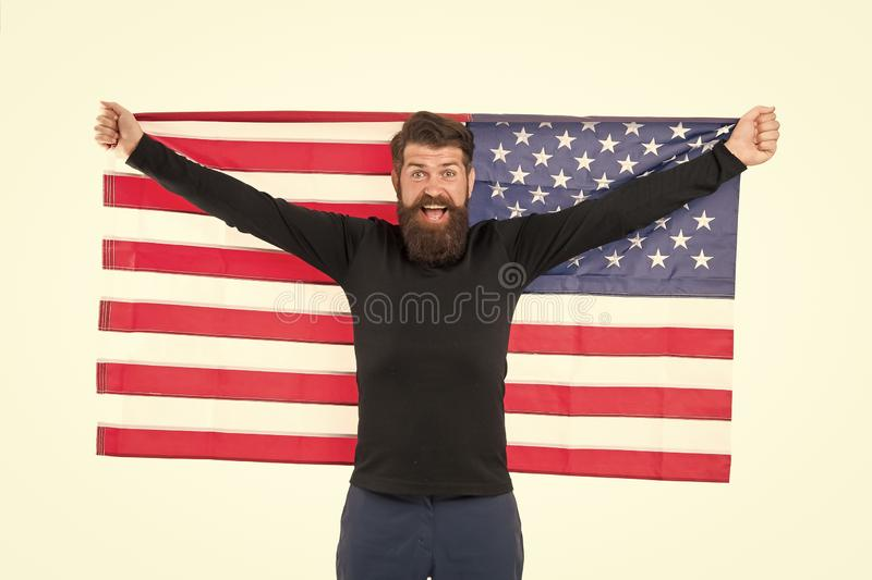 Independence concept. Career growth. Man hold american flag. Country opportunities. National holiday. Hipster bearded stock photo