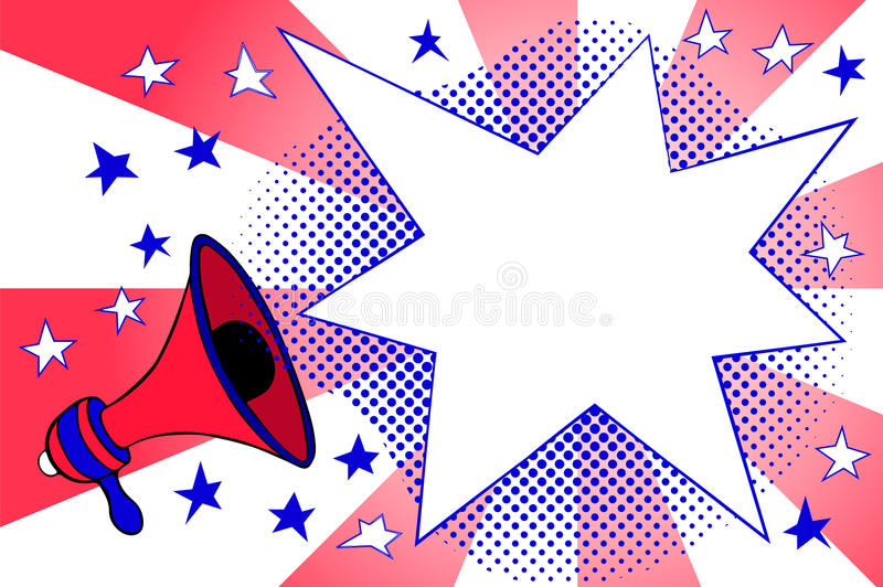 Independence day advertisement template with retro megaphone and text place. Megaphone and flash background with stripes and stars. American flag colored vector illustration
