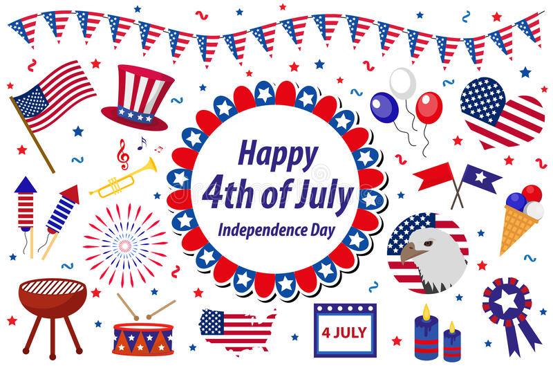 Independence Day America celebration in USA, icons set, design element, flat style. Collection objects for July 4th vector illustration