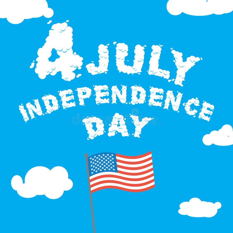 Independence Day of America. Letters from clouds on blue sky. vector illustration