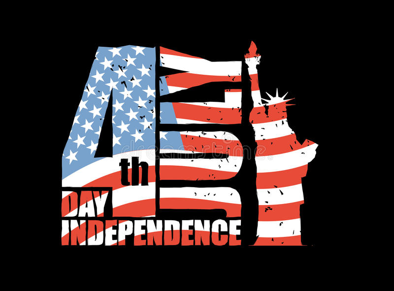 Independence Day of America. Statue of Liberty and USA flag in g. Runge style. Brush stroke. National public holiday in United States. Logo for patriotic stock illustration