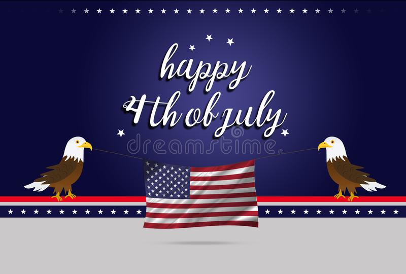 Independence day of America 4th July, Two bald eagles holding USA flag stock photos