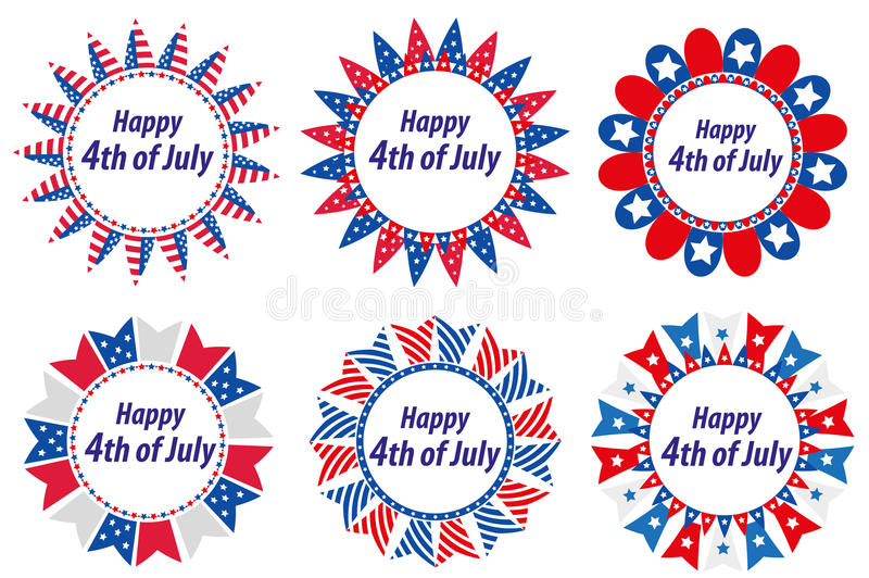Independence Day America, USA. Set of round frames with flags. Collection of decorative elements with space for text for stock illustration