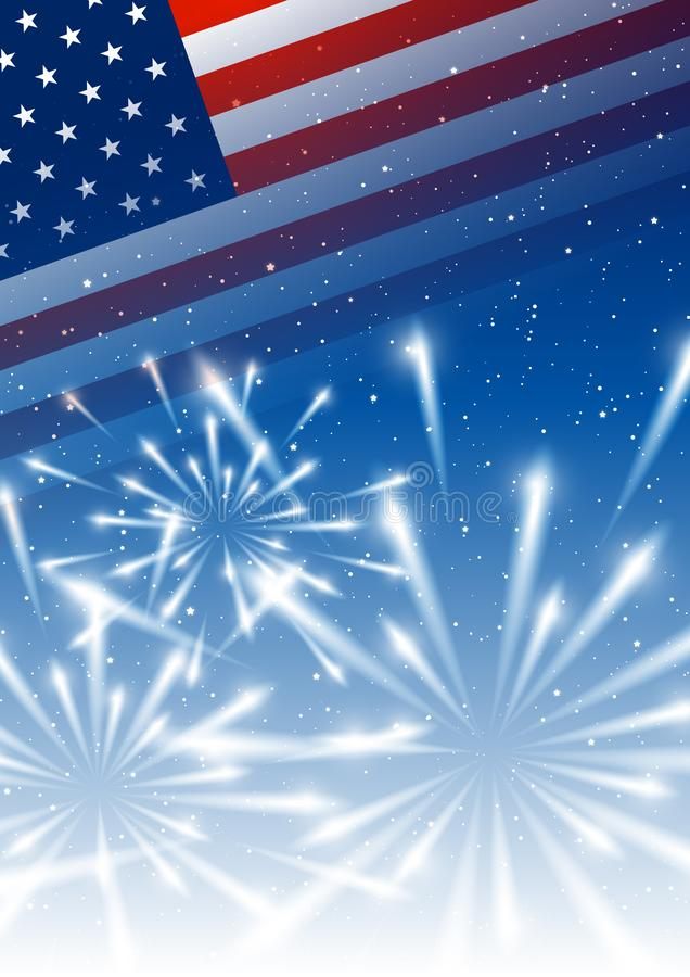 Independence day background with American flag and fireworks stock illustration