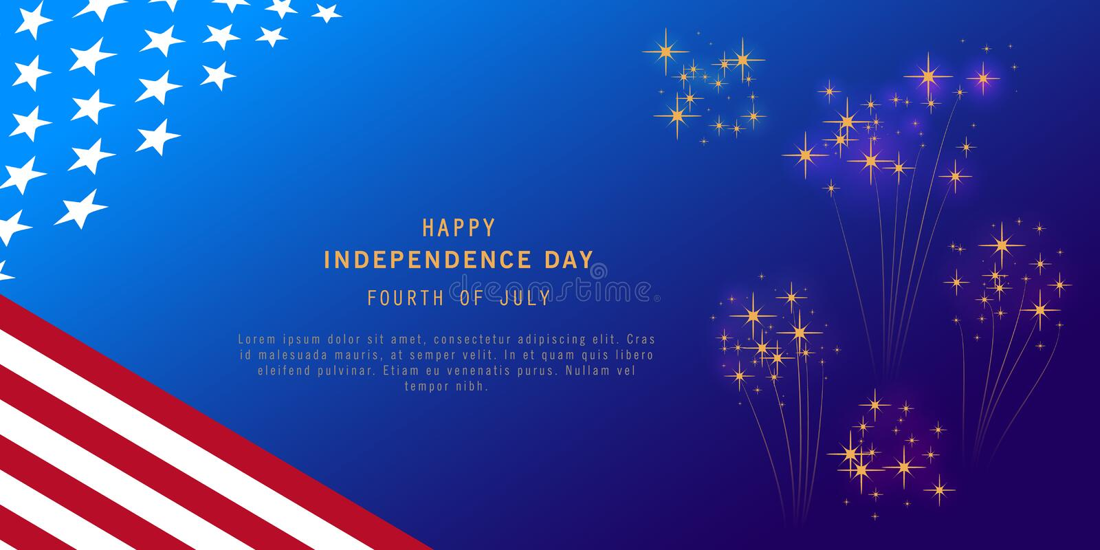Independence Day background with fireworks and USA flag. Fourth of July celebration banner, poster, flyer, greeting card design. stock illustration